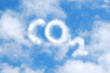 CO2 spelt out in clouds