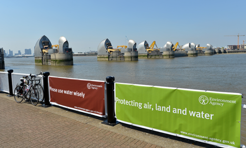 Thames Barrier with Environment Agency signs