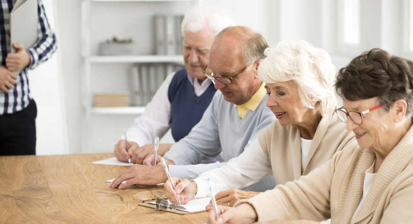 Pensioners taking a survey