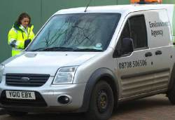 Environment agency worker and van