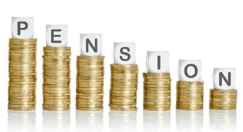 Stack of pension coins declining in size