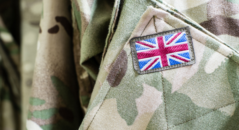 Union Flag patch on on camoflaged military jacket