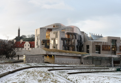 Scottish Parliament building in the snow