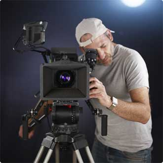 Person filming with a camera
